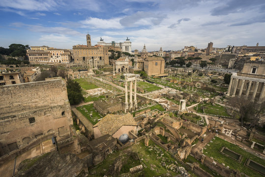View of Roman Forum seen from Palatine Hill