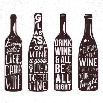 Typography set of wine bottle silhouette with lettering. Vector handwriting illustration designed for advertising bar or pub menu, prints, poster, banner and labels creations.