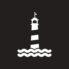 white vector icon on black background lighthouse and sea