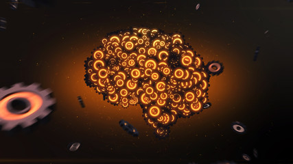 Glowing orange mechanical clockwork brain forming from flying gear wheels illustrating artificial intelligence - 3D render