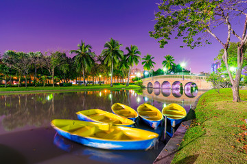Lakeside boats in Chatuchak park