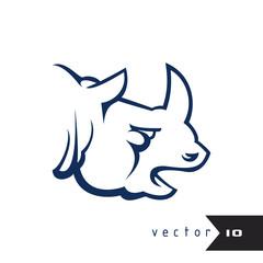 Rhino vector illustration rhino logo isolated on white background