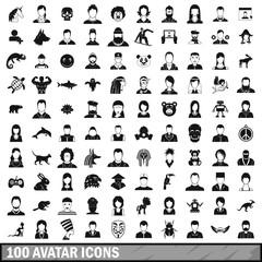 100 avatar icons set, simple style