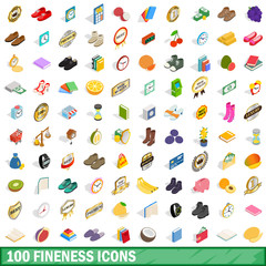 100 fineness icons set, isometric 3d style