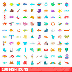100 fish icons set, cartoon style