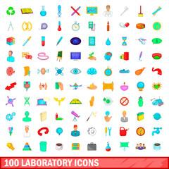 100 laboratory icons set, cartoon style