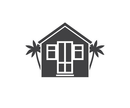 Summer bungalow icon in outline design. Beach hut logotype silhouette vector illustration. Bath house logo or label template.