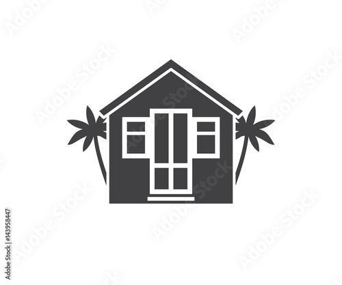 Summer bath house vector illustration. Beach house logo or label.
