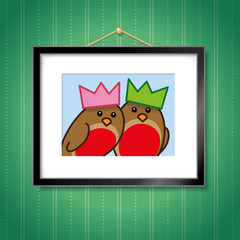 Couple of Robins wearing Party Hats in Picture Frame