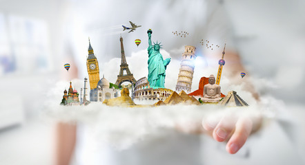 Businessman touching a cloud full of famous monuments with his finger 3D rendering
