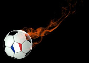 3D illustration Soccer Ball French Flag