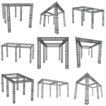 Steel truss girder rooftop construction set. 3d render isolated on white