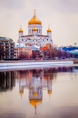 Cathedral of Christ the Savior in the winter. christian landmark in Russia