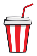 Cartoon cup of soda. Vector illustration