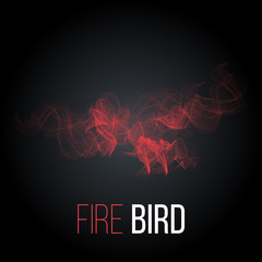 Stylized rising flying fire bird red color. Phoenix or Eagle image. Vector