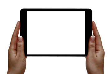 African female hands hold mobile device on a white background.