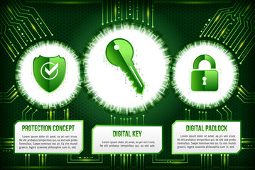 Digital technology concept of background with shield, key and padlock. Circuit board background. Hi-tech electronic wires. Abstract information security. Modern safety digital background.