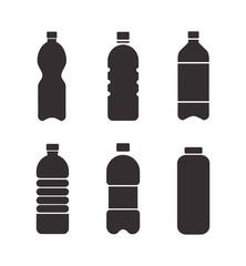 Set of black vector bottle icons isolated on white background