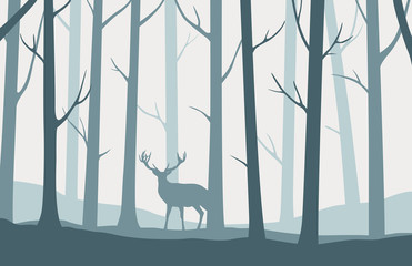 Landscape with silhouettes of trees in the forest and deer standing in the middle - vector illustration