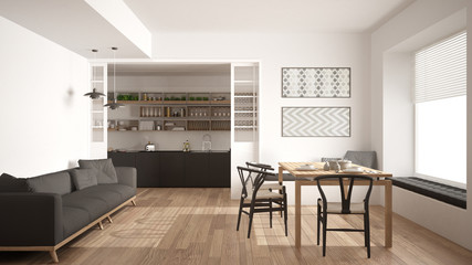 Minimalist kitchen and living room with sofa, table and chairs, white modern interior design