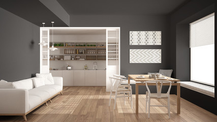 Minimalist kitchen and living room with sofa, table and chairs, white and gray modern interior design