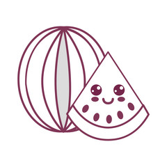silhouette kawaii nice happy watermelon icon