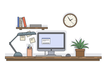 Flat line vector illustration of workplace desk with compiter and other equipment in the office