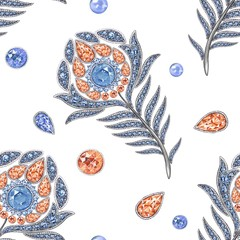 Peacock jewelry the feather 4. Seamless pattern, watercolor hand-drawing. Background