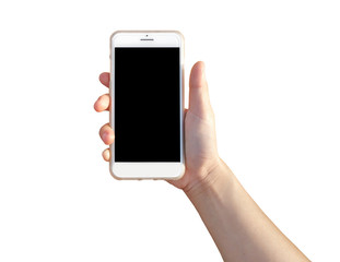 hand holding Modern mobile smart phone with black screen for mockup , isolated on white background , Clipping Path