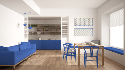 Minimalist kitchen and living room with sofa, table and chairs, white and blue navy modern interior design