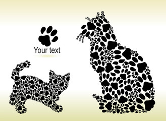 Silhouettes of cat and kitten from the cat paws