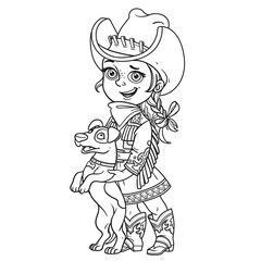 Cute little girl in a cowboy costume playing with a dog outlined isolated on a white background