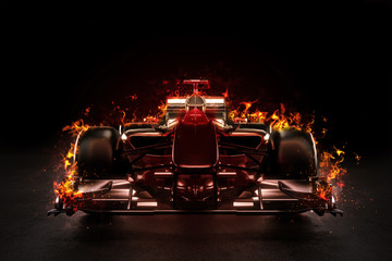 Hot team motor sports racing car with studio lighting and fire effect. 3d rendering illustration