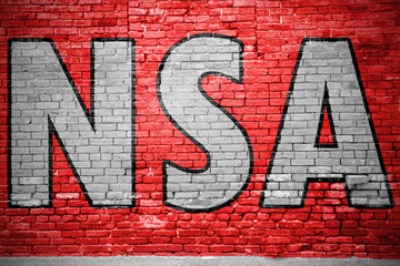 NSA (National Security Agency) Graffiti Ziegelsteinmauer
