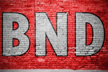 BND (Bundesnachrichtendienst) Graffiti Ziegelsteinmauer