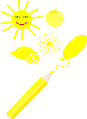 Drawing a yellow pencil items sun, a lemon, a flower, an Apple, a balloon