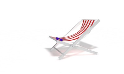 Sunglasses and sunbed beach, 3d render