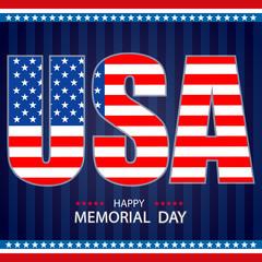 Happy Memorial Day background template. Patriotic banner. Vector illustration.