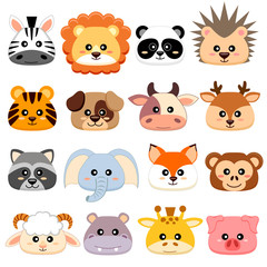 Cute cartoon animals head. Dog, pig, cow, deer, lion, sheep, tiger, panda, raccoon, monkey, fox, zebra, giraffe, elephant, hedgehog, hippopotamus