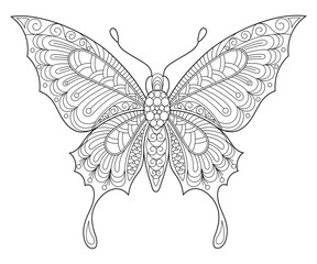 Butterfly. Adult antistress coloring page. Black and white hand drawn doodle for coloring book