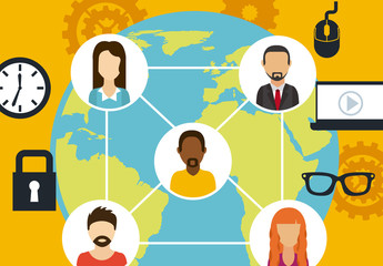 Illustrated Global Social Networking Infographic 2