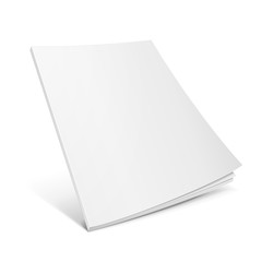 Blank Flying Cover Of Magazine, Book, Booklet, Brochure. Illustration Isolated On White Background. Mock Up Template Ready For Your Design. Vector EPS10