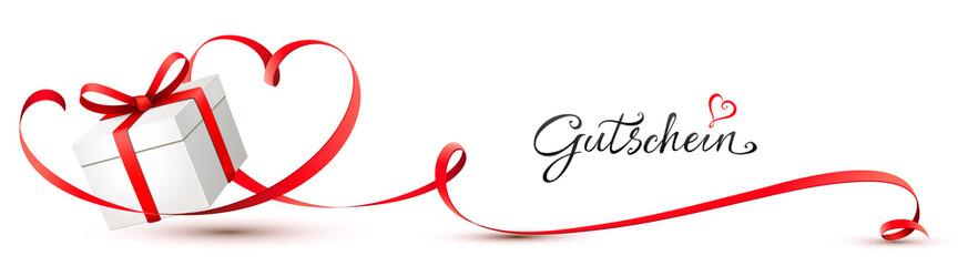 Geschenkbox mit geschwungenem Herz Schleifenband - Gutschein