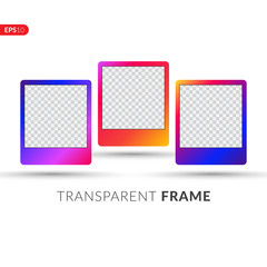 Photo frame with trend gradient. Colorful plastic border on a white background. Vector illustration set frame.