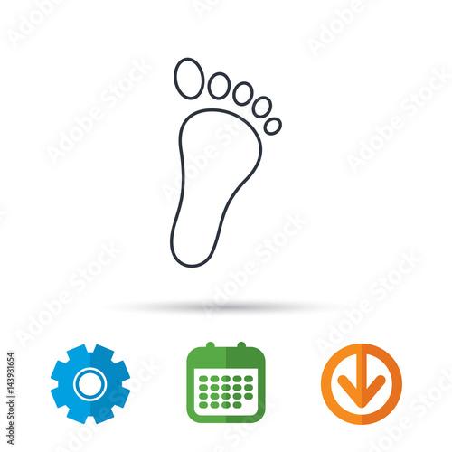 fdaa15181 Baby footprint icon. Child foot sign. Newborn step symbol. Calendar ...