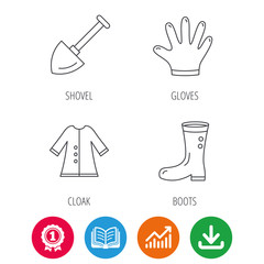 Shovel, boots and gloves icons. Cloak linear sign. Award medal, growth chart and opened book web icons. Download arrow. Vector