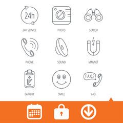 Phone call, battery and faq speech bubble icons. 24h service, photo camera and sound linear signs. Smile and search icons. Download arrow, locker and calendar web icons. Vector