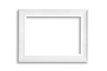 White blank picture frame isolated on white background.