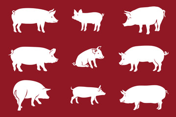 Pigs Red / Pork icon. Vector Image, pig silhouette, in Curl Tail pose, isolated on red background
