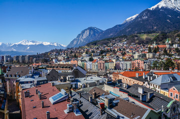 View of the city of Innsbruck from the roof.